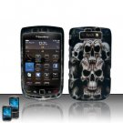 Hard Plastic Rubber Feel Design Case  For Blackberry Torch 9800 - Ancient Skulls