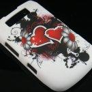 Hard Plastic Rubber Feel Design Case  For Blackberry Torch 9800 - Inked Heart