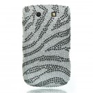Hard Plastic Bling Rhinestone Case For Blackberry Torch 9800 - Silver Zebra