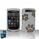Hard Plastic Bling Rhinestone Case For Blackberry Torch 9800 - Dog Paws