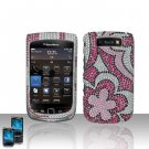 Hard Plastic Bling Rhinestone Case  For Blackberry Torch 9800 - Silver and Pink Flowers