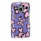 Hard Plastic Design Case For HTC Droid Eris 6200 - Purple and Pink Skulls