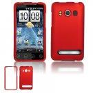 Hard Plastic Rubber Feel Full Case For HTC Evo 4G - Red
