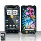 Hard Plastic Rubber Feel Design Full Case For HTC Evo 4G - Blue Flowers