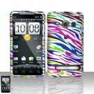 Hard Plastic Rubber Feel Design Full Case For HTC Evo 4G - Rainbow Zebra