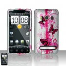 Hard Plastic Rubber Feel Design Full Case For HTC Evo 4G - Black and Pink Butterfly