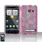 Hard Plastic Bling Rhinestone Design Case For HTC Evo 4G - Hot Pink Flowers