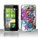 Hard Plastic Rubber Feel Design Case For HTC HD7 - Purple and Blue Flowers