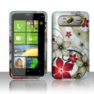 Hard Plastic Rubber Feel Design Case For HTC HD7 - Red and Gold Flowers