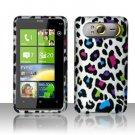 Hard Plastic Rubber Feel Design Case For HTC HD7 - Rainbow Leopard