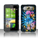 Hard Plastic Rubber Feel Design Case For HTC HD7 - Rainbow Flowers