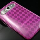 Crystal Gel Check Design Skin Case For HTC HD7 - Hot Pink