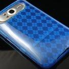 Crystal Gel Check Design Skin Case For HTC HD7 - Blue