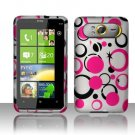 Hard Plastic Rubber Feel Design Case For HTC HD7 - Pink and Black Dots
