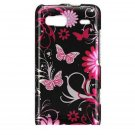 Hard Plastic Design Case For HTC G2 - Pink Butterfly