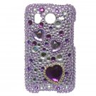 Hard Plastic Bling Rhinestone Design Case For HTC Inspire 4G/Desire  - Purple Hearts
