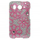 Hard Plastic Bling Rhinestone Design Case For HTC Inspire 4G/Desire  - Hot Pink Lace