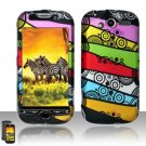 Hard Plastic Rubber Feel Design Case For HTC Mytouch HD 4G - Abstract Art