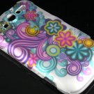 Hard Plastic Rubber Feel Design Case For HTC Mytouch HD 4G - Purple and Blue Flowers