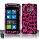 Hard Plastic Rubber Feel Design Case For HTC Surround - Hot Pink Leopard