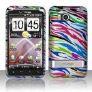 Hard Plastic Rubber Feel Design Case For HTC Thunderbolt 4G (Verizon) - Rainbow Zebra