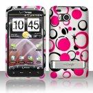 Hard Plastic Rubber Feel Design Case For HTC Thunderbolt 4G (Verizon) - Pink and Black Dots
