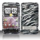 Hard Plastic Rubber Feel Design Case For HTC Thunderbolt 4G (Verizon) - Silver and Black Zebra