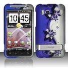 Hard Plastic Rubber Feel Design Case For HTC Thunderbolt 4G (Verizon) - Silver and Purple Vines