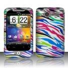 Hard Plastic Rubber Feel Design Case for HTC Wildfire 6225 - Rainbow Zebra