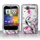 Hard Plastic Rubber Feel Design Case for HTC Wildfire 6225 - Silver and Pink Flowers
