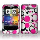 Hard Plastic Rubber Feel Design Case for HTC Wildfire 6225 - Pink and Black Dots
