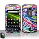 Hard Plastic Rubber Feel Design Case for Huawei Ascend M860 - Rainbow Zebra