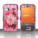 Hard Plastic Rubber Feel Design Case for Huawei M750 - Pink Flower Blossom