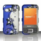 Hard Plastic Rubber Feel Design Case for Huawei M750 - Silver and Blue Vines