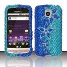 Hard Plastic Bling Rhinestone Design Case For LG Optimus M  - Blue Flower