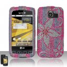 Hard Plastic Bling Rhinestone Design Case for LG Optimus S - Hot Pink Flowers