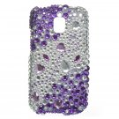 Hard Plastic Bling Rhinestone Design Case for LG Optimus T (T-Mobile) – Purple and Silver