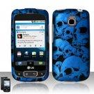 Hard Plastic Rubber Feel Design Case for LG Optimus T (T-Mobile) - Blue Skulls