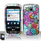 Hard Plastic Rubber Feel Design Case for LG Optimus T (T-Mobile) - Purple and Blue Flowers