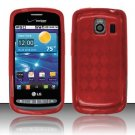 Crystal Gel Check Design Skin Case for LG Vortex VS660 - Red