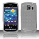 Crystal Gel Check Design Skin Case for LG Vortex VS660 - Clear