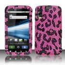 Hard Plastic Bling Rhinestone Design Case for Motorola Atrix 4G MB860 - Hot Pink Leopard
