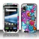 Hard Plastic Rubber Feel Design Case for Motorola Atrix 4G MB860 - Purple and Blue Flowers