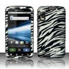 Hard Plastic Rubber Feel Design Case for Motorola Atrix 4G MB860 - Silver and Black Zebra