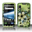 Hard Plastic Rubber Feel Design Case for Motorola Atrix 4G MB860 - Butterfly and Green Flowers