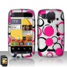 Hard Plastic Rubber Feel Design Case for Motorola Citrus WX445 - Black and Pink Dots