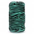 Hard Plastic Design Case for Motorola Cliq MB200 - Turquoise and Black Zebra