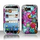 Hard Plastic Rubber Feel Design Case for Motorola Defy MB525 - Purple and Blue Flowers