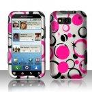 Hard Plastic Rubber Feel Design Case for Motorola Defy MB525 - Black and Pink Dots