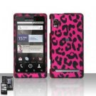 Hard Plastic Rubber Feel Design Case for Motorola Droid 2 A955 - Hot Pink Leopard
